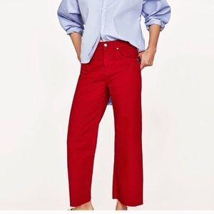 Zara denim high rise culottes